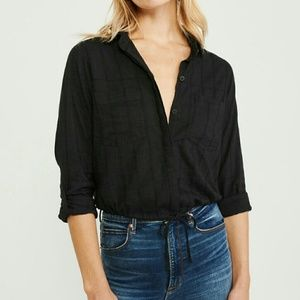 Abercrombie & Fitch Cinched Hem Button-up Shirt